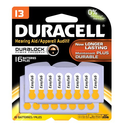 Duracell DA13B16ZM09 Easy Tab Hearing Aid Zinc Air Battery, 13 Size, 1.4V, 300 mAh Capacity (Pack of 16)