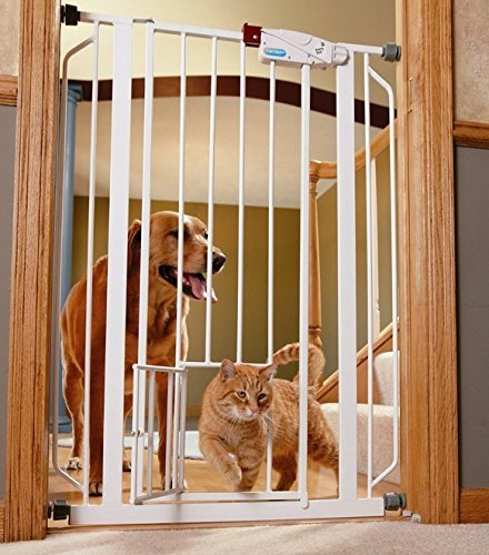 Indoor Double Door Pet Gate Deluxe Convenient Walk-through Design Easy One-touch Release Handle for Dogs & Cats 51NhPjFfxdL