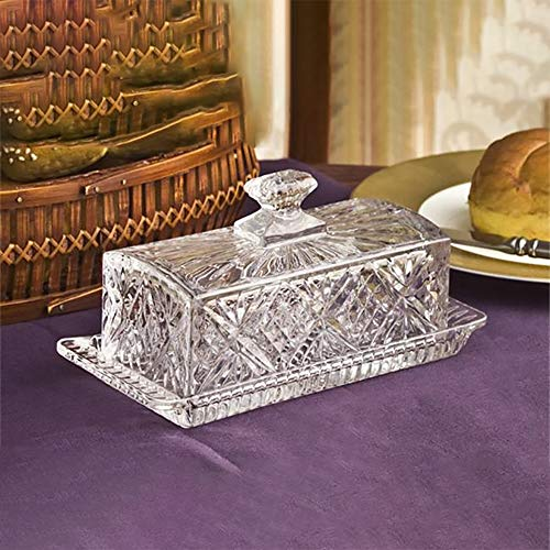 Crystal Covered Butter Dish - Covered Glass Butter Dish   Classic 2-Piece Design Butter Dish with Lid   Dishwasher Safe