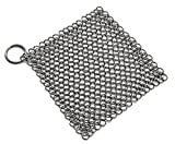 Peacechaos Cast Iron Cleaner XL 8x6 Inch Premium Stainless Steel Chainmail Scrubber for Cookware,Skillet,Pan,Griddle,Works,Casseroles,baking sheet,tea pot,cookie sheet,cauldron,hibachi,pie pan (1)