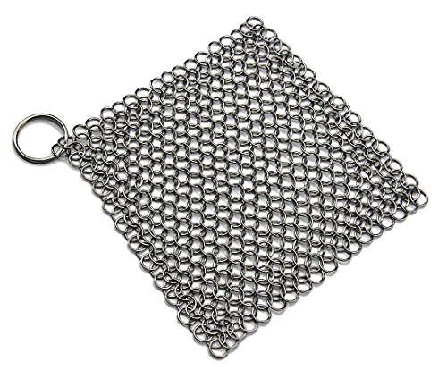 Peacechaos Cast Iron Cleaner XL 8x6 Inch Premium Stainless Steel Chainmail Scrubber for Cookware,Skillet,Pan,Griddle,Works,Casseroles,baking sheet,tea pot,cookie sheet,cauldron,hibachi,pie pan (1) by Peacechaos (Image #6)