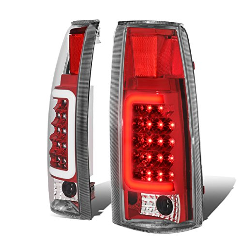 For Chevy/GMC C/K-Series Pair of 3D LED Tail Brake Light (Chrome Housing Red Lens) (00 Grille Escalade Cadillac)