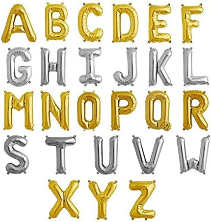 16 Gold Foil Letter Balloons Air Fill Only