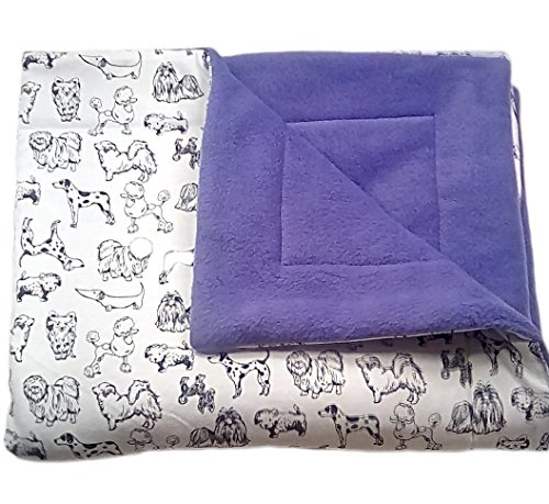 """Purple dog blanket, 30"""" x 35"""" 3 layers with doodle dogs"""