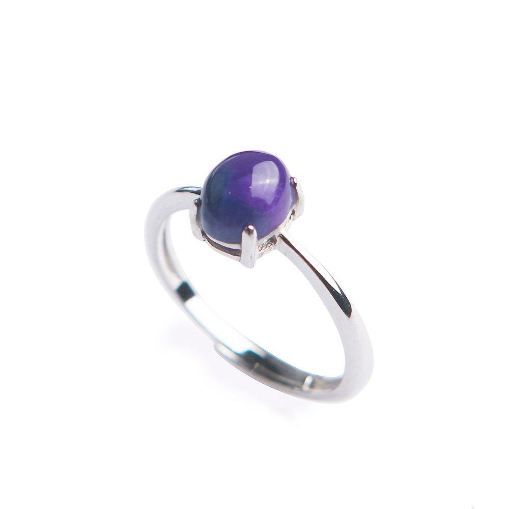Reikocrystalbeads Genuine Jewelry Natural Purple Sugilite Gemstone Rings Size Adjuster Women Wedding