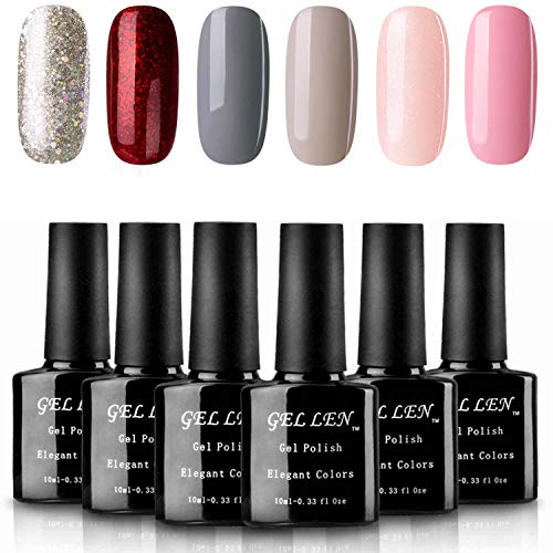 - Gellen Gel Nail Polish Set - Popular 6 Colors (Champagne Glitter, Shimmering Flame Red, Strawberry Pink, Watery Peach, Charcoal Gray, Warm Gray)