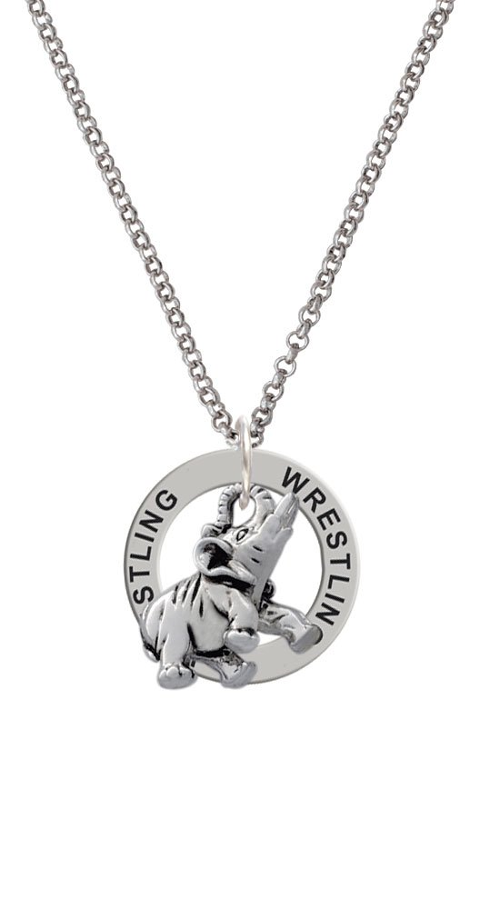 Silvertone Elephant - Wrestling Affirmation Ring Necklace by Delight Jewelry