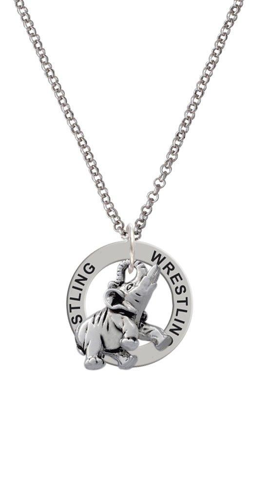 Silvertone Elephant - Wrestling Affirmation Ring Necklace