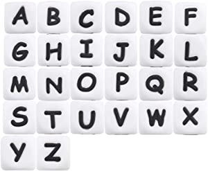 52pc Silicone Bead in 26 Letters BPA Free Silicone Chew Jewelry Making Beads DIY Beads Alphabet Cube Shaped Food Grade