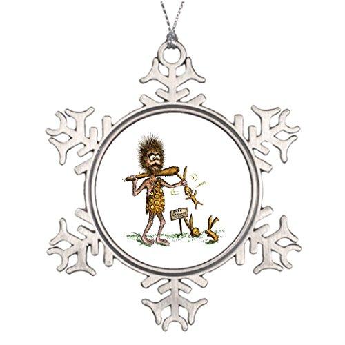 Tlbfresapo6 Tree Branch Decoration Free Bunny Rides - Caveman Customizable Christmas Snowflake Ornaments Caveman ()
