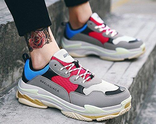 JiYe Mens Fashion Sports Shoes Athletic Running Mesh Gym Walking Sneakers Gray Red ksvccpai