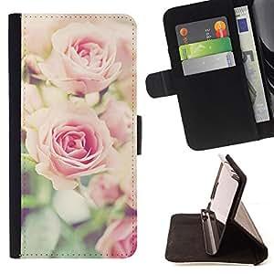- rose vignette pink floral spring nature - - Prima caja de la PU billetera de cuero con ranuras para tarjetas, efectivo desmontable correa para l Funny HouseFOR Sony Xperia Z1 L39