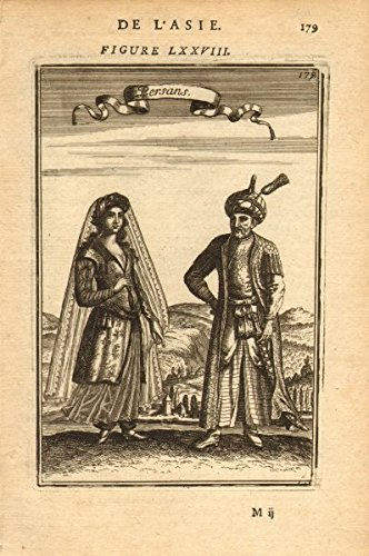 PERSIA (IRAN) COSTUME. Persian man & woman in 17C dress. 'Persans'. MALLET - 1683 - old print - antique print - vintage print - art picture prints of Persia (Portrait Of A Lady Movie Costumes)