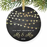 """First Christmas as Mr & Mrs Ornament 2016, 1st Married Christmas Ornament, First Married Christmas, 3"""" Flat Circle Porcelain Ornament w Glossy Glaze, Gold Ribbon & Free Gift Box   Mellon"""