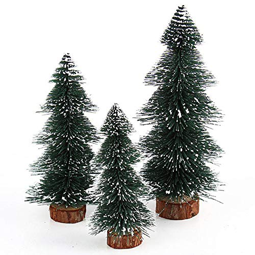 Highpot Mini Christmas Tree Green Sisal Snow Frost Trees Bottle Brush Trees Tabletop Christmas Trees for DIY Room Decor Table Top Decoration (7.9 inches) -