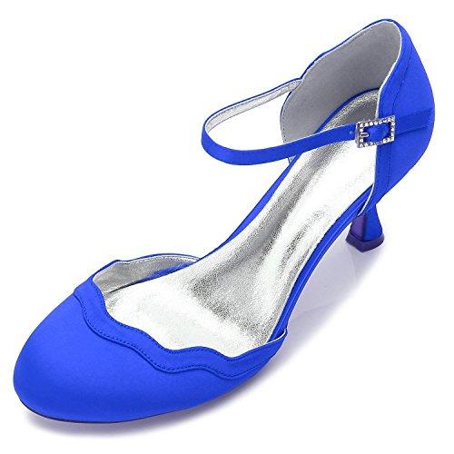 L@YC Women's Wedding Shoes T17061-54 Silk Casual Party & Point Toe Low Heel Buckle/Multicolor Blue HvflvfV4v