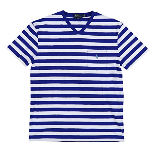 Polo Ralph Lauren Mens Classic Fit V-Neck Pocket T-Shirt (Small, White/Royal Blue) (Classic-fit Polo Pocket Tee)