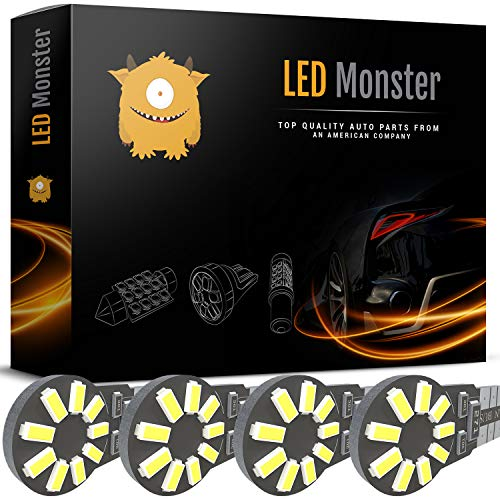 LED Monster 4pcs T10 Wedge Best Value Super Bright High Power 3014 18-SMD 194 168 2825 W5W White LED Bulb Lamp for Car Truck Interior Dome Map Door Courtesy License (Mercury Cougar Tail Light Covers)