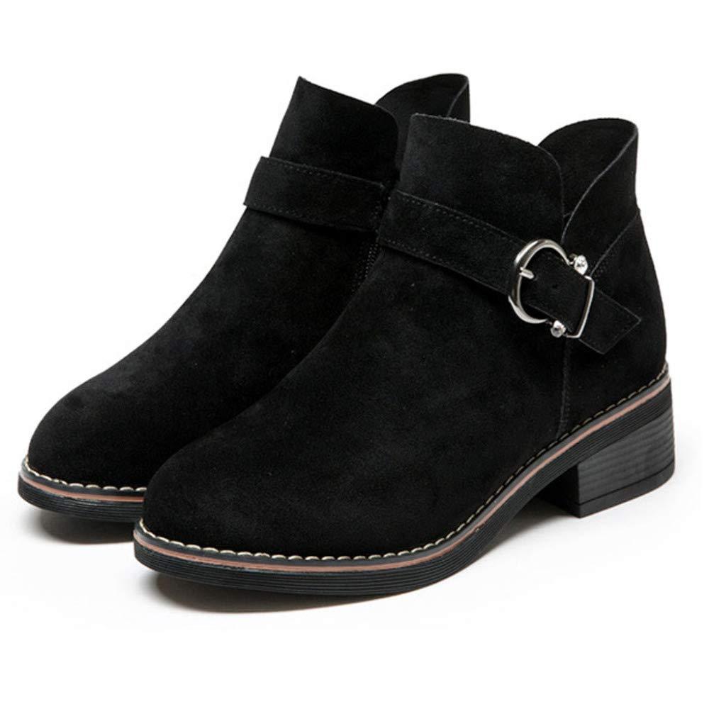 RegbKing Frauen Stiefelies Mode Leder Reißverschluss Dicke Martin Martin Martin Stiefel Runde Zehe Schuhe 71c84c
