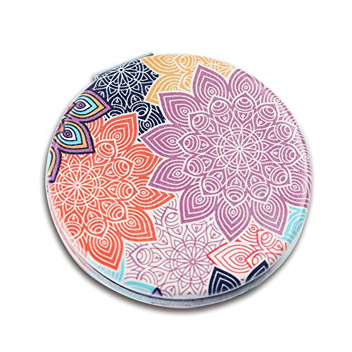 Lizimandu PU Double Sided Mirror, Compact Mirror, 3X Magnification + 1X Mirror, Pocket-size, Travel(Colorful Flower)