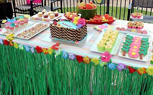 Adorox (3 Table Skirt) Hawaiian Luau Hibiscus Green Table Skirt 9 Ft Party Decorations