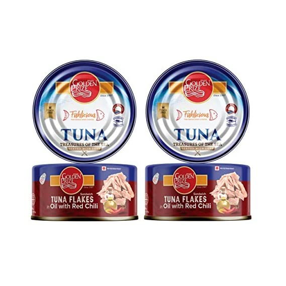 Golden Prize Tuna Sandwich Flakes in Oil with Red Chili 185Gms Each - Pack of 2 Units