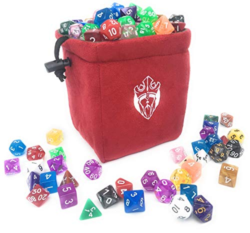 (CardKingPro Deluxe Freestanding Dice Bag - Capacity 100 Dices - Red - Reversible)