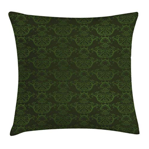 Hunter Green Throw Pillow Cushion Cover by Lunarable, Victorian Damask Rococo Renaissance Swirled Classic Floral Petals Pattern, Decorative Square Accent Pillow Case, 16x16 Inch/40cmx40cm, Fern Green