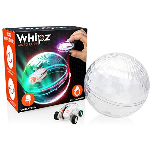 Whipz Micro Racers Mini Cars - Micro Pocket Racer LED Light Up Glow in The Dark Car Spinner Girls or Boys Toys, Keychain Cars w/ Balls for Kids]()