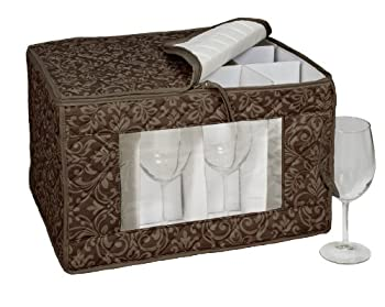 Homewear HUDSON DAMASK Brown Goblet Stemware Storage for 12 Glasses, 13 by 16.5 by 10.5-Inch