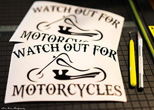 Qty 2 Watch Out For Motorcycles Chopper Black Vinyl truck car Decal Sticker CUSTOM (Chopper Decal)