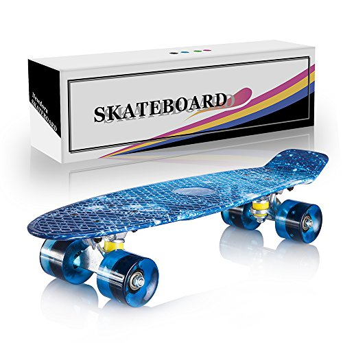 Newdora 22' Complete Skateboard Cruiser with Colorful LED Light Up Wheels for Kids, Boys, Girls, Youths, Beginners (Galaxy, 22)