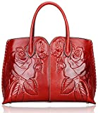 Pijushi Designer Floral Purse Women's Genuine Leather Tote Handbags 65102 (red)