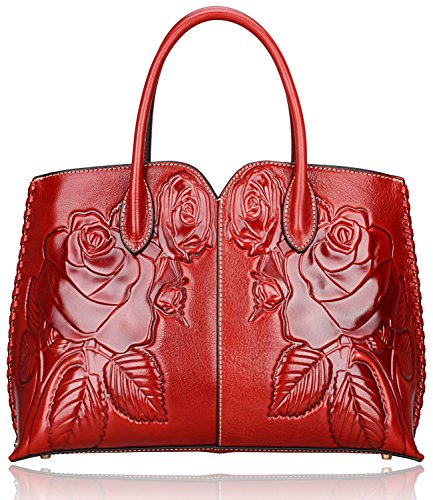 Pijushi Designer Floral Purse Women's Genuine Leather Tote Handbags 65102 (red) by PIJUSHI