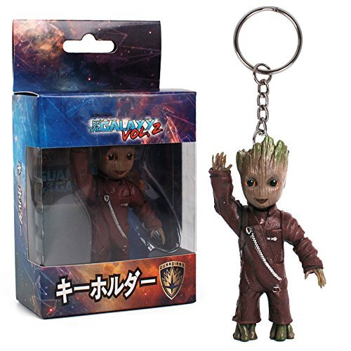 LDSS Baby Groot Action Figures Toy Key Chain Home Ornament Cute Model Toy for Kid Cartoon Tree Man Keychain Car Hanging Decor Keyring