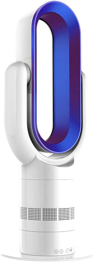 MIMI KING Ventilador eléctrico sin Cuchilla 2 en 1 Calentador Ventilador Fresco con Control Remoto, Toque inductivo Inteligente, Multifuncional de bajo Ruido para el Verano de Invierno,Blue