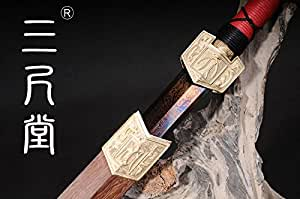 H-quality Home Decoration Chinese Sword Blue Blade Sword Hand-made Damascus Folded Steel Full tang Blade Collection sword