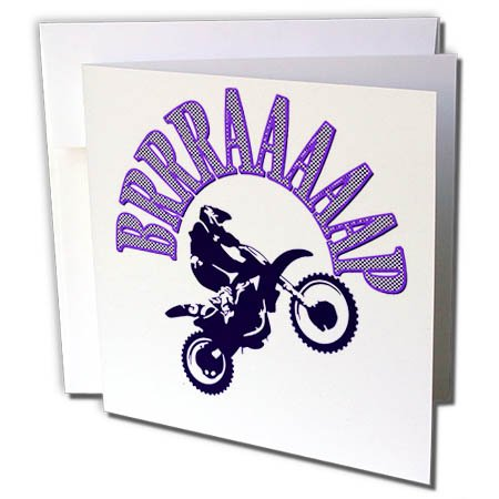 3dRose Taiche - Vector - Motocross - Blue Brrraaaaap Checkered Flag Moto Language - 12 Greeting Cards with Envelopes (gc_284713_2)