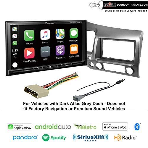 2011 Lanyard - Sound of Tri-State Pioneer DMH-1500NEX Digital Multimedia Receiver Fits 2006-2011 Honda Civic (Dark Atlas Grey) and Lanyard Bundle