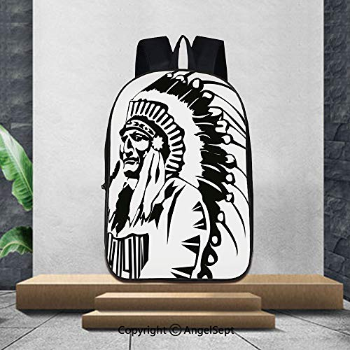 (Lightweight Backpacks Casual School Bags,TribalSketchy Hand Drawn Grunge Style Old Native American Eastern Tribe Chef Image Decorative,16.5