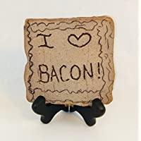 dist by American mud products I (Heart) Bacon - Handmade Plaque with Unique Saying, Desk Top Plaque on Wood Stand, Show Your Love of Bacon to Everyone
