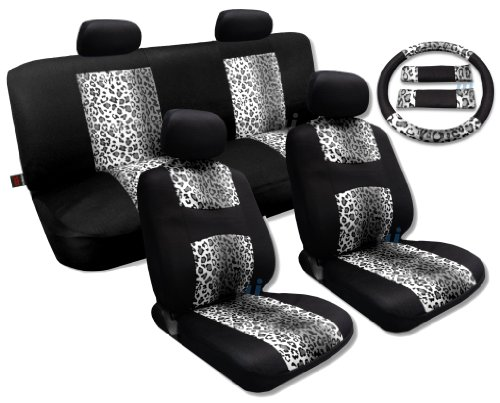Cool Fur Print Snow Gray Leopard Black Knit Mesh Cool Breeze Animal Print Seat Cover Set Fits Jeep Liberty Low Back Seats