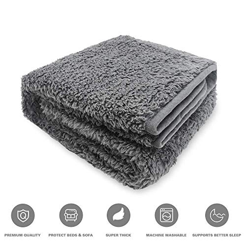 CHEE RAY Lightweight Premium Fluffy Thick Dog Cat Blanket - Durable Kitten Soft and Warm Fleece Pet Throw for Puppy Grey 31.5X23.6''