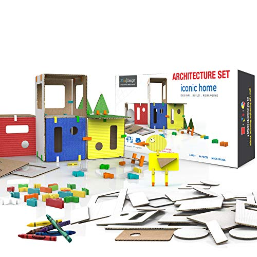 3DUX DESIGN Modern House Architecture Set. DIY Design, Build & Paint Toy for Kids STEAM Education - 76 Easy to Assemble and Reusable Pieces for Building Home, Furniture & Characters Open-Ended Play