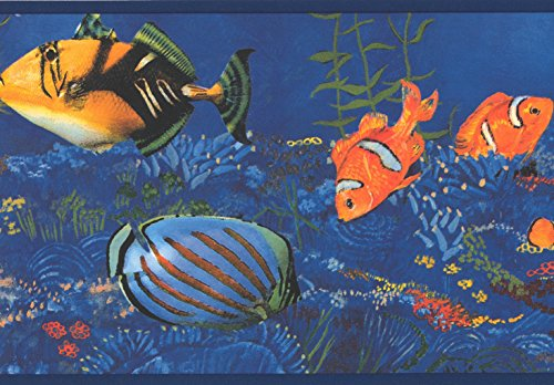 Yellow Black Orange Striped Fish Seahorse in Blue Ocean Nautical Wallpaper Border Retro Design, Roll 15' x 7'' ()