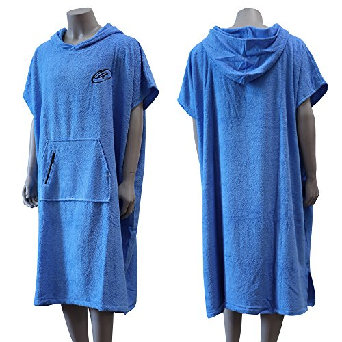 Lightahead® Cotton Surf Beach Hooded Poncho Changing Bath Robe Towel with Pocket (Blue) (Adult XL)