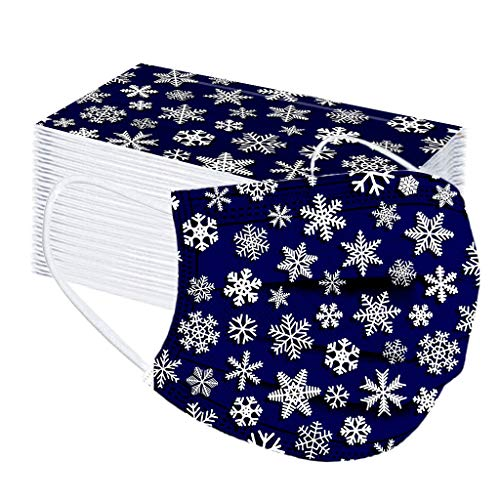 50 Pcs Adults Christmas Disposable Face Bandanas Snowflake Pattern Breathable Protection Dustproof Face Covering