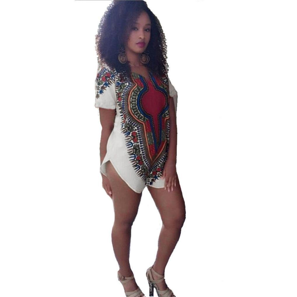 Women Traditional Tribal African Print Dashiki Party Hippie Unique T-Shirt Dress Napoo Napoo-3462