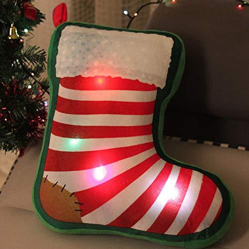 Franterd LED Music Christmas Tree Pendant Xmas Small Pillow Gift Snowman Santa Claus Christmas Ornament