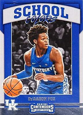 De'Aaron Fox basketball card (Kentucky Wildcats) 2017 Panini School Colors Draft Picks Rookie #7